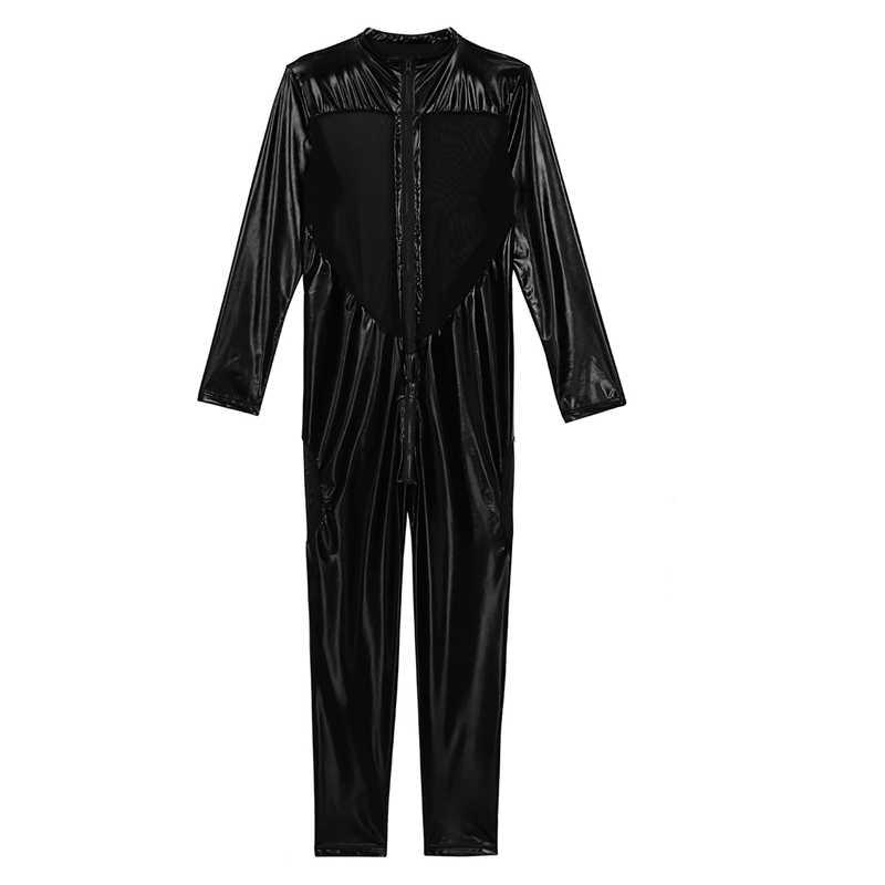 Halloween czarny Unisex Sexy metaliczny błyszczący Zentai Catsuit mężczyźni kobiety splot siatkowy kostium zakrywający całe ciało przebranie na karnawał lateksowy Zentai garnitur