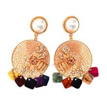 New Elegant long crystal bee temperament pearl big circle exaggerated Drop Earrings for women Party jewelry