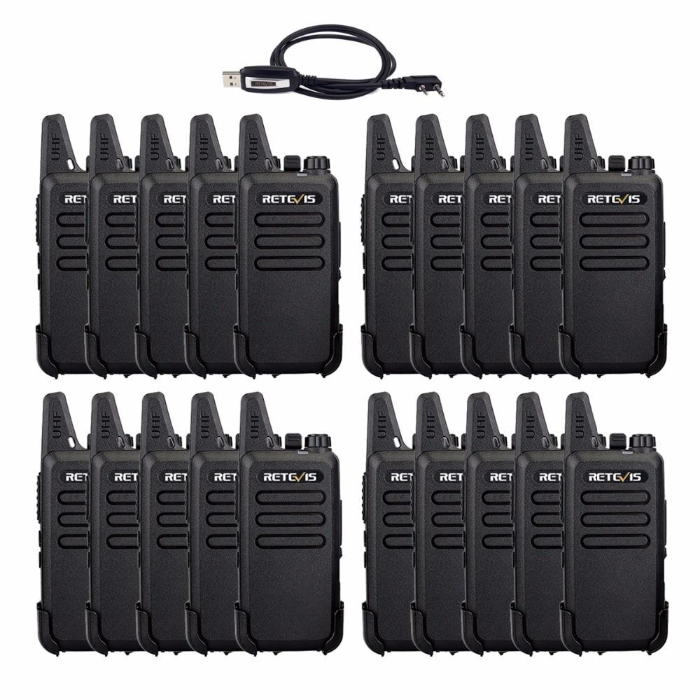 20 pcs Cheap Retevis RT22 Mini Walkie Talkie Set 2W UHF VOX Handy 2 Way cb Radio Hf Transceiver Restaurant/Hotel Walkie-Talkie
