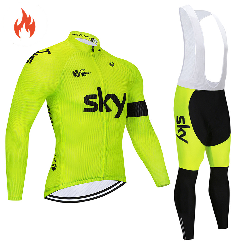 2018 Pro team Winter thermal Fleece Cycling jersey set abbigliamento  ciclismo invernale bicycle clothing MTB bike jersey top sky b3930459c