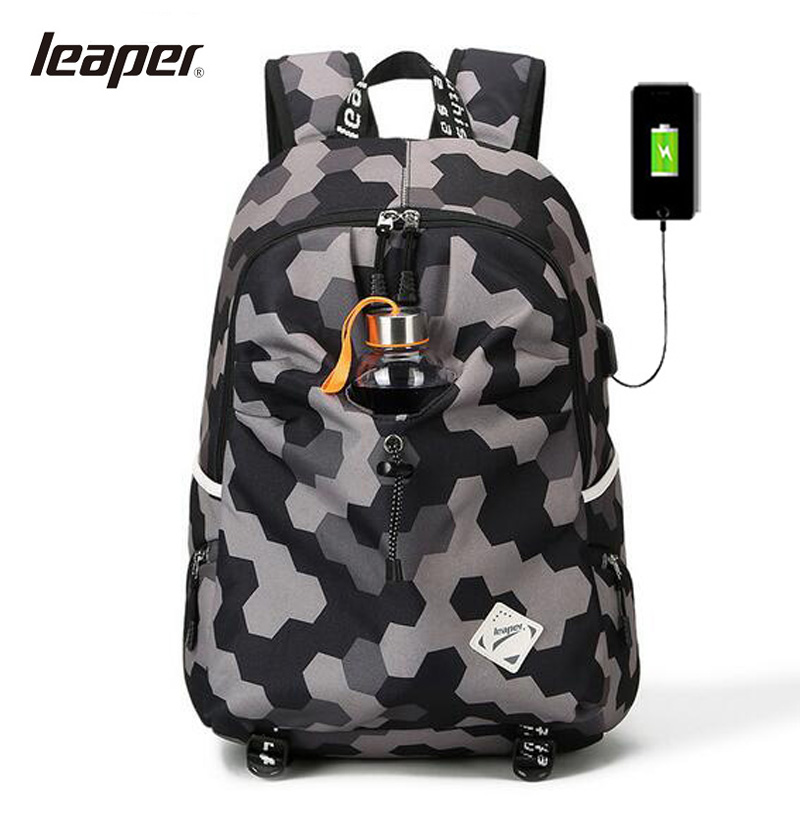 LEAPER Oxford Backpack For Men USB Charge School Bags For Teenagers Laptop Backpack Student College Travel Womens Bckpack Bag augur oxford 17inch laptop men backpack large capacity student school bag for college patchwork business trip men rucksack