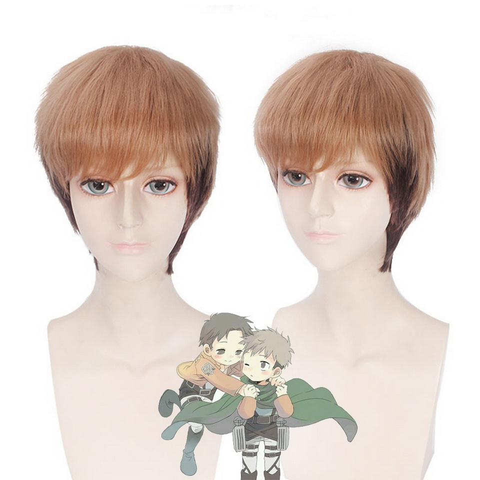Attack on Titan Jean Kirschtein Brown Ombre Wig Short Heat Resistant Synthetic Hair Anime Cosplay Wigs For Costume Party 8inch