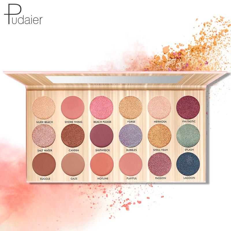 Pudaier Eyeshadow Makeup Palette 18 Color Pink Purple Eyeshadow Waterp