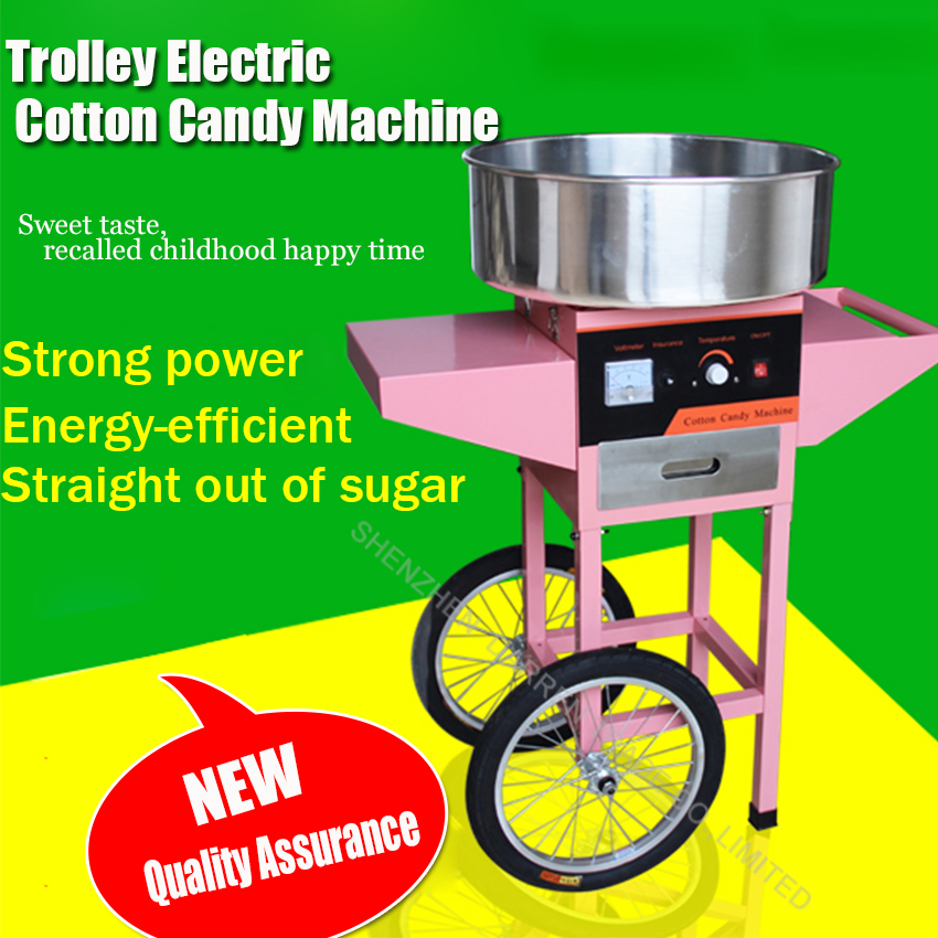 Trolley Electric Cotton Candy Machine FM-01 cotton floss machine with Trolley cotton Candy Maker professional cotton candy floss machine cotton candy vending machine with low price