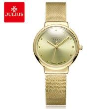 Купить с кэшбэком JULIUS JA-426 Women's Ultra Thin Silver Gold Brown Black Mesh Stainless Steel Fashion Casual Watch Female Waterproof Wristwatch