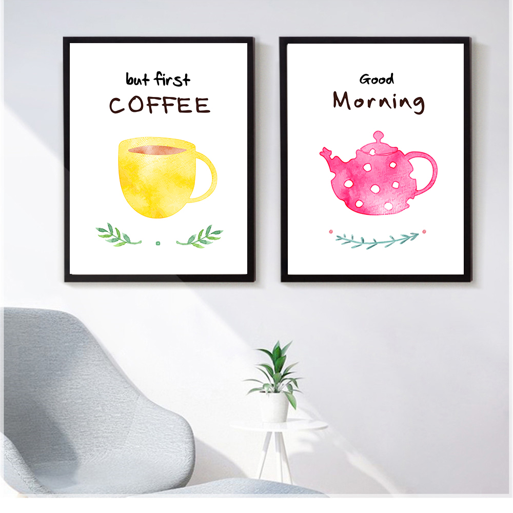 Kitchen Or Living Room Wall Decoration Nordic Style Canvas Picture Tea Coffee And Letter Good Morning Painting Art Poster Prints