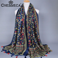 Fashion Chinese Ethnic Style Floral Printed Scarves Women Black Yellow Colorful Tassels Long Soft Wrap Winter