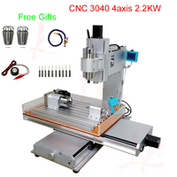 4axis CNC router machine 3040 vertical type cnc milling machine with 2.2kw water coolled spindle free tax to RU