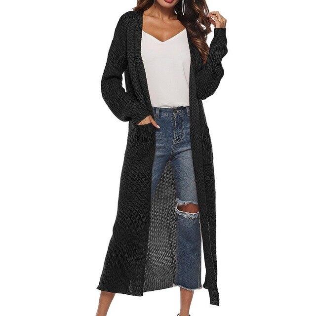 LAAMEI ארוך קרדיגן נשים סתיו 2018 אופנה ארוך סרוגים סוודרים נקבה צמרות גדולות סתיו מזדמן שחור מעיל פיצול בגדים