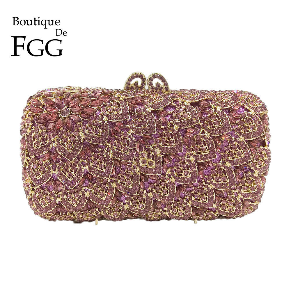 Boutique De FGG Socialite Light Purple Women Crystal Evening Purse Handbag Formal Dinner Bridal Wedding Party Diamond Clutch Bag