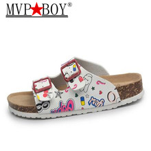 MVP BOY 2019 Fashion Women Slipper Summer Beach Shoes Lover Open Toe Slides Cork Slippers Plus Size 35-45 black white pink