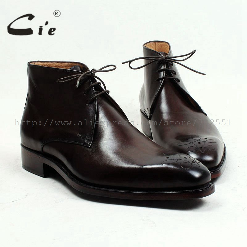 cie square toe medallion 100 genuine calf leather boot patina deep brown handmade bespoke leather lacing