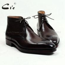 Cie kare ayak madalyon 100% hakiki buzağı deri çizme patina derin kahverengi el yapımı ısmarlama deri bağlama erkek bileğe kadar bot A99