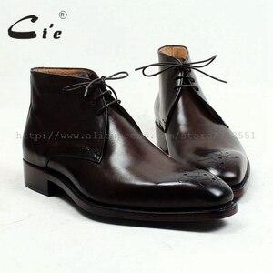 Image 1 - Cie kare ayak madalyon 100% hakiki buzağı deri çizme patina derin kahverengi el yapımı ısmarlama deri bağlama erkek bileğe kadar bot A99