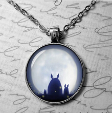 Steampunk totoro chain japan anime satsuki and mei My neighbor totoro Necklace 1pcs/lot bronze silver Glass Pendant jewelry mens