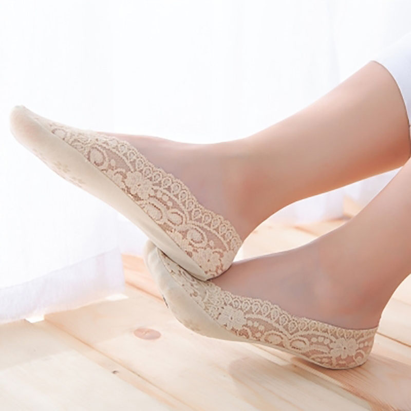 Lace Cotton Solid Color Thin Section Short Sock Shallow Mouth Breathable Comfortable Women Nonslip Short Sock Hosiery