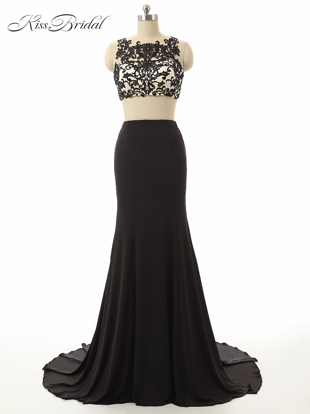 Sexy Two Pieces Lace   Prom     Dresses   Scoop Neck Sleeveless Illusion Back Sweep Train Applique Formal Evening Party Gowns