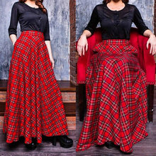 Skirt Long For Women Summer  Pleated Red Plaid Tartan With Pockets Europe England  Floor length Party  Maxi Skirt