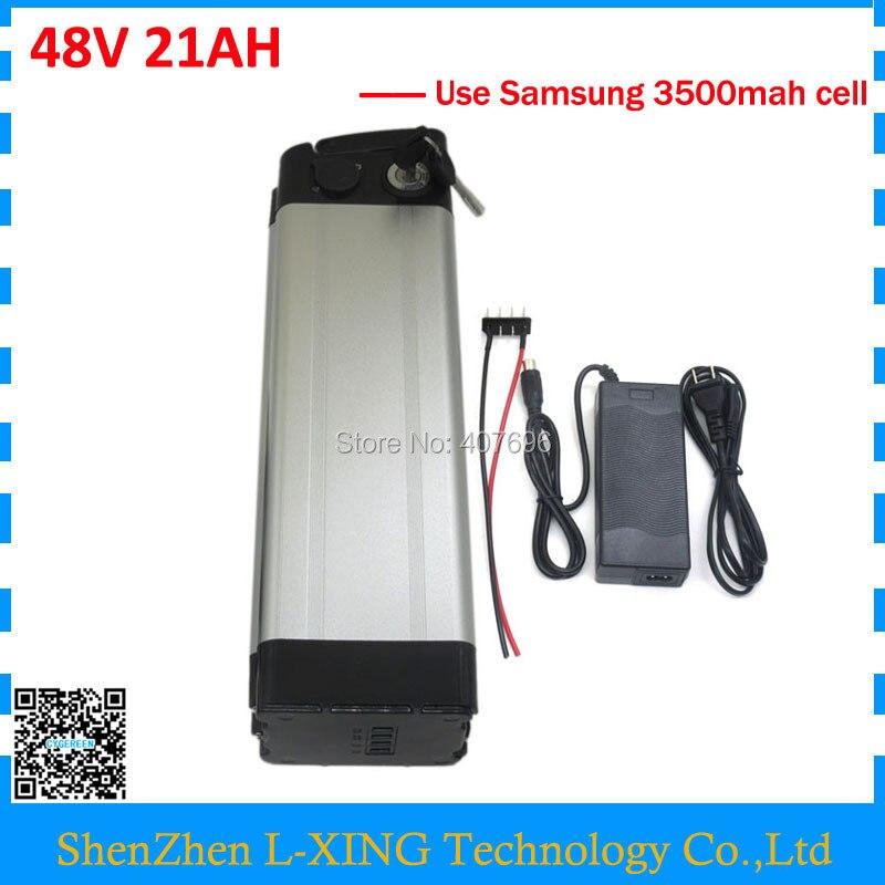 1000W 48V 21AH electric bike battery 48V Li-ion battery pack 48v silver fish scooter battery use samsung 35E 18650 cell 30A BMS