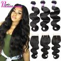 8A Grade Peruvian Virgin Hair With Closure Puruvian Hair Bundles With Lace Closures Peruvian Body Wave 3 Bundles With Closure