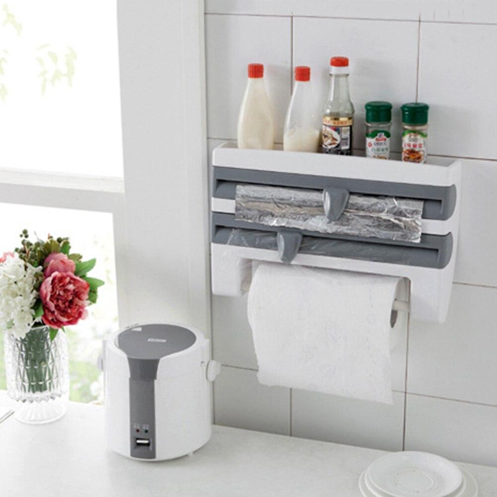 New ABS Kitchen Foil Film Wrap Tissue Paper Kitchen Roll Holder Dispenser Rack Storage Shelf