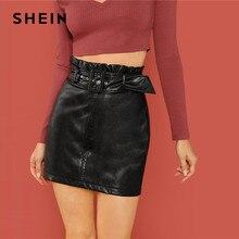 9c6c9abba9 SHEIN negro auto ajustable con cinturón de falda elegante falda alta  cintura Bodycon Mini faldas las mujeres otoño ropa simple F..
