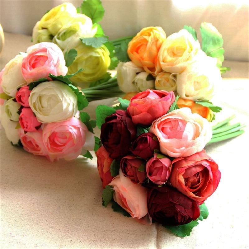 10 koka me trëndafila artificiale Buqeta e dasmave Lule dekorative e - Furnizimet e partisë - Foto 1