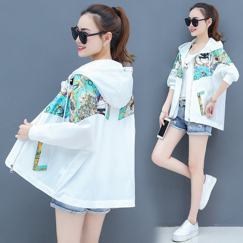 2019 Summer New Korean Pllus Size Short Coat Female print Sun Protection Clothing baseball uniform Spring   Trench   For Women v753