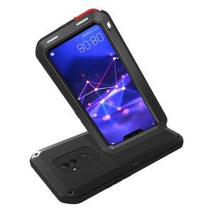 Image 2 - LOVEMEI חזק מתכת עמיד למים מקרה עבור Huawei Mate 20 לייט Mate20 lt אלומיניום הלם עפר הוכחת כיסוי עם זכוכית גורילה סרט