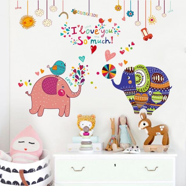 New Classical 3D Cartoon Jungle Wildlife Tree Cute Elephant Wallpaper Sticker Room Colorful Living Home