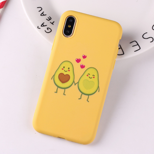 uk availability b66a6 f710a US $1.29 35% OFF|For iPhone 6 6S 5S SE 8 8Plus X 7 7Plus XS Max Cute  Avocado Lover Love Heart Funny Tropical Girls Soft Silicone Candy Case  Capa-in ...