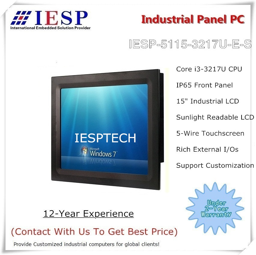 "PC de panel industrial legible a la luz del sol, CPU Core i3-3217U, RAM DDR3 de 4 GB, HDD de 500 GB, PC con panel táctil de 15 "", OEM / ODM"