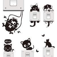 DIY Funny Cute Cat Dog Black Switch WALL Stickers Cartoon Animal Wall Stickers Home Decoration Bedroom living room Decoration