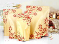 Printing Flower Stand Up Zipper Lock Kraft Paper Packaging Bag Free Shipping