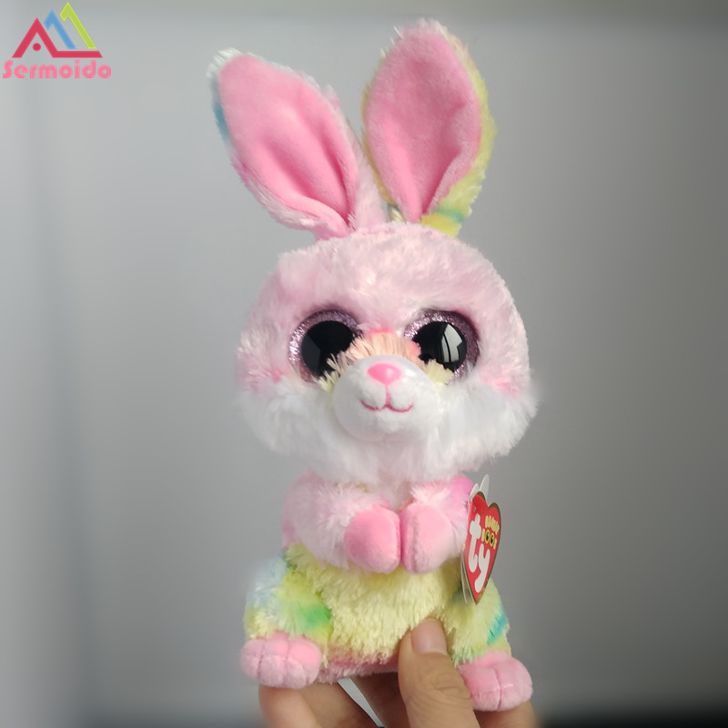 sermoido TY Beanie Boos 6 Twinkle Toes the Bunny Rabbit Plush Regular Stuffed Collectible Soft Big Eyes Rabbit Doll Toy DBP111 little love pattern plush rabbit toy bunny bow tie stuffed doll 40cm