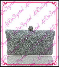 Aidocrystal grey pearls ladies clutch bag and high heel shoes set for wedding party