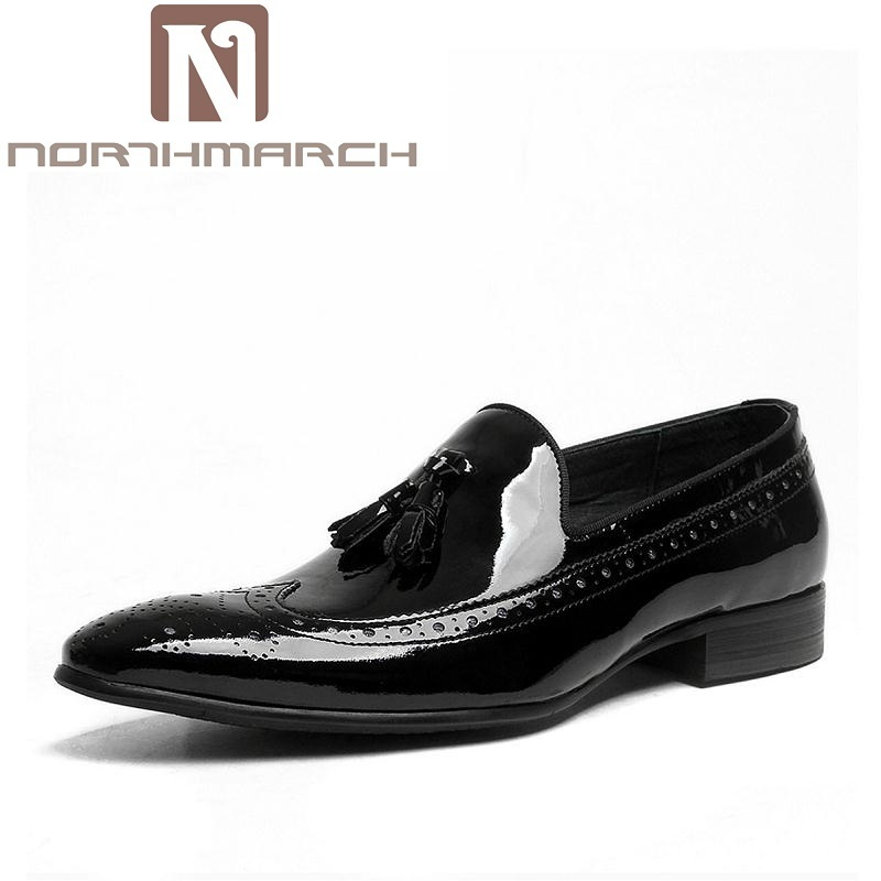 NORTHMARCH Spring Autumn New Mens Business Dress Shoes Fashion Slip On Tassel Leather Wedding Shoes Men Handmade Work Shoes mazefeng new fashion 2018 spring autumn men dress shoes business male leather shoes solid color men work shoes slip on round toe