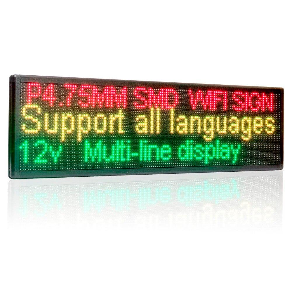 12 v 24 v 110 v-220 v 63 cm Wifi LED Signe Côté Fenêtre Programmable Défilement Deux lignes boutique LED message panneau d'affichage pour la publicité