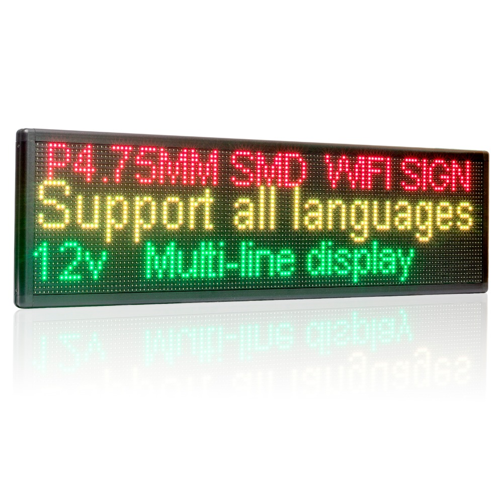 12V 24v 110V-220V 63cm Wifi LED Sign Side Window Programmable Scrolling Two lines Shop LED message display board for advertising
