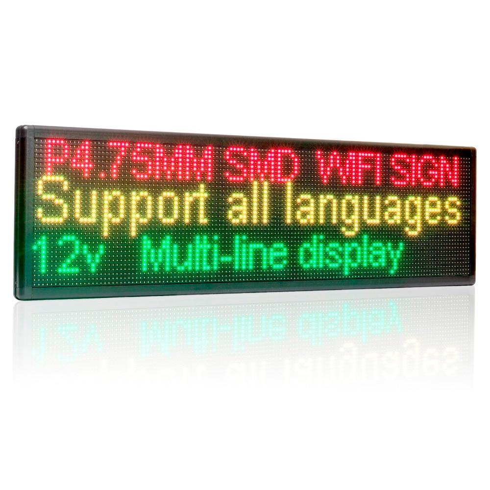 12V 24v 110V-220V 63cm Wifi LED Sign Side Window Programmable Scrolling Two Lines Shop LED Message Display Board For Advertising
