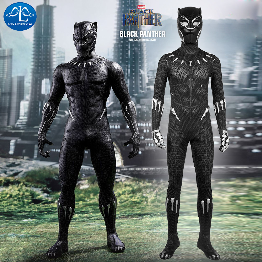 2018 Film Noir Panthère Cosplay Costume Hommes Halloween Costume Noir Panthère Costume Hommes Salopette Avec Masque Custom Made
