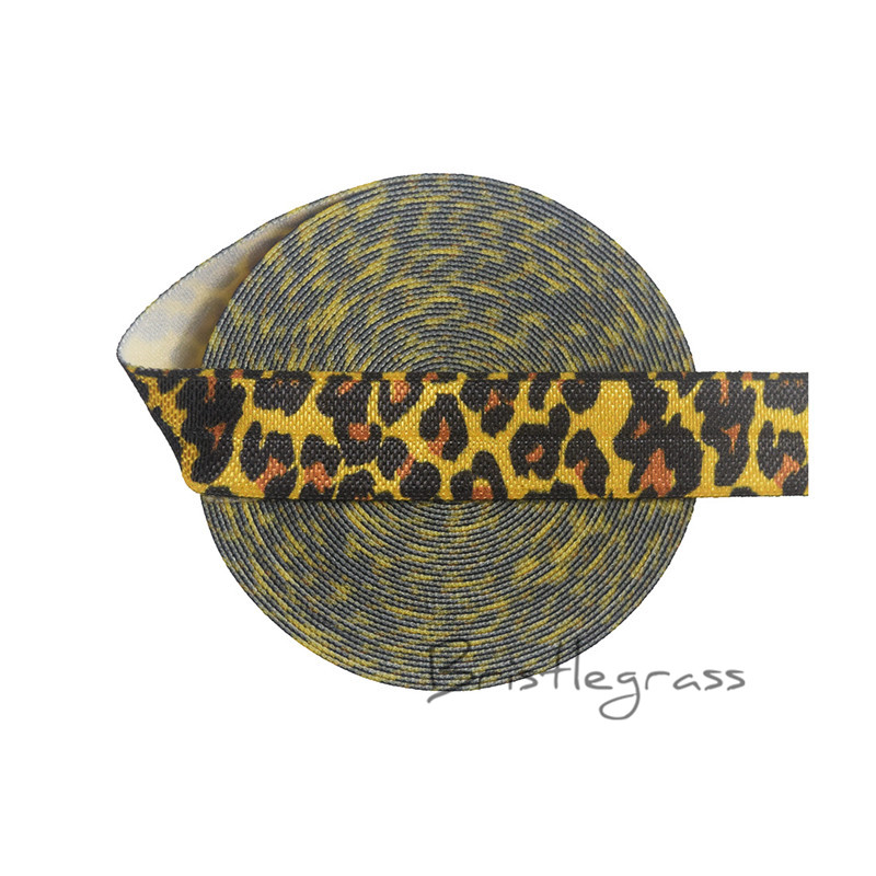 "BRISTLEGRASS 100 Yard by Roll 5/8"" 1.5cm Yellow Leopard Print FOE Fold Over Elastic Satin Band Kid Hair Tie Headband Sewing Trim-in Hair Accessories from Mother & Kids    1"