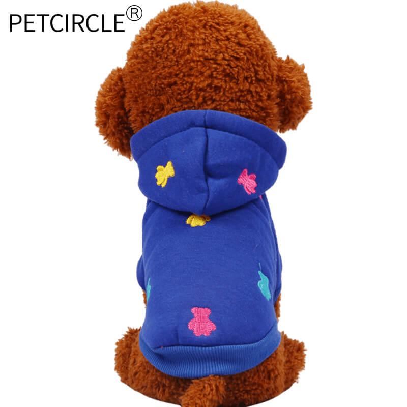 naujas 2017 m. karšto naminių šunų drabužiai rudenį ir žiemą siuvinėjami mažai šunų kailiniai su skrybėlėmis 4 spalvos audiniu