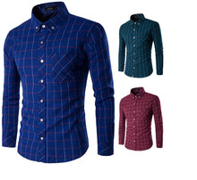 Brand New Men's Casual Shirt Social Solid Color Plaid Shirt Full Sleeve Turn Down Collar