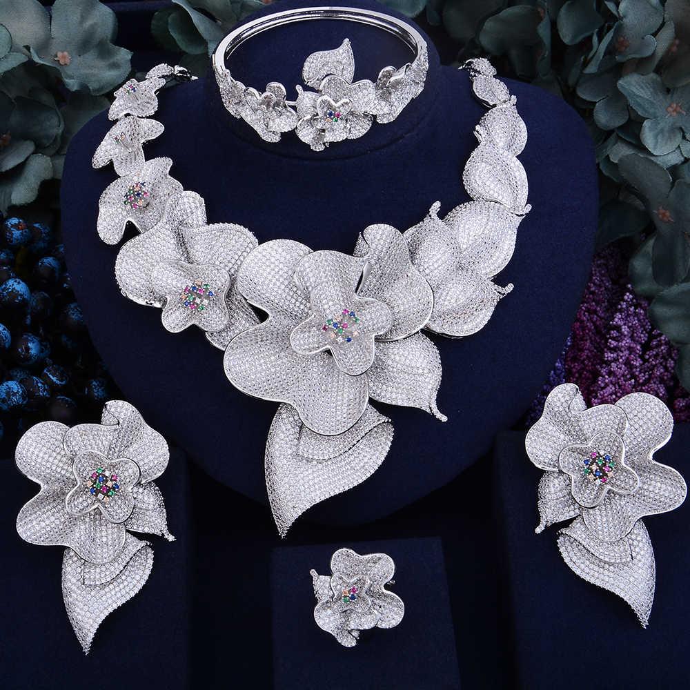 GODKI Super Shinning Luxury Flower Women Wedding Naija Bride Cubic Zirconia Necklace Dubai 4PCS Jewelry Set Jewellery Addiction