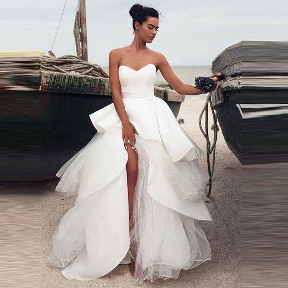 Angel Married Ruffled Tulle And Satin Bridal Wedding Dress Sweetheart Corset Wedding Gown with Split vestido de boda 2019