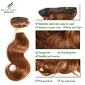 Light Brown #3 Color Wavy Hair 12 Inches 112G/Set Human Hair Clip In Extensions Body Wave Brazilian Virgin Hair