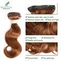 Luz Marrom #3 Cor Do Cabelo Ondulado 12 Polegadas 112 G/Set Grampo Em Extensões Do Cabelo Humano da Onda Do Corpo Brasileiro Virgem cabelo