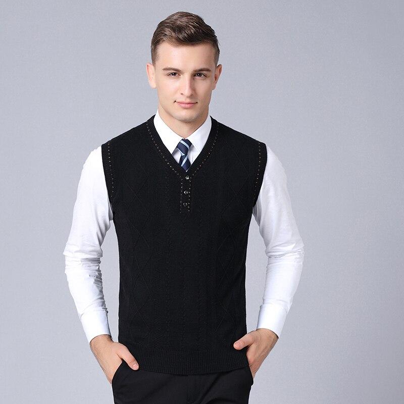 2019 Neue Mode Marke Pullover Für Herren Pullover Weste Slim Fit Jumper Strickwaren V-ausschnitt Winter Koreanischen Stil Casual Kleidung Männer