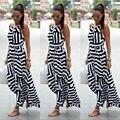 Женщины Сексуальная Летнее Платье Boho Макси Лонг Полосатый Рукавов Платье Пляж Одежда Платье Женщин Летом